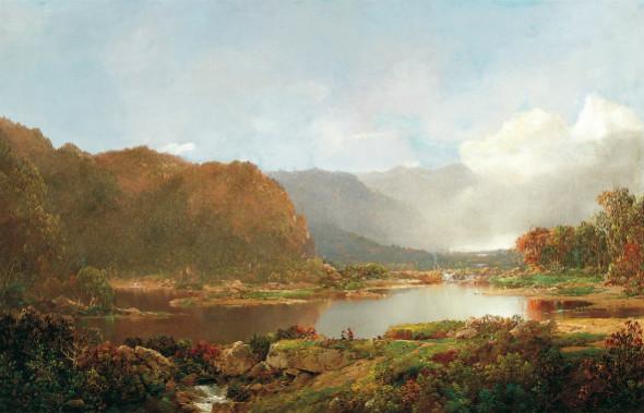 Pescadores en los Adirondacks de William L Sonntag. Colección Carmen Thyssen-Bornemisza