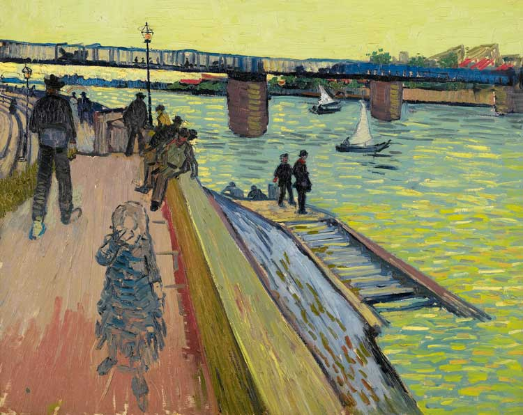 Edvard Munch, The Scream, 1893-1910, Munch Museum. Right: Vincent van Gogh, The Bridge at Trinquetaille, 1888, Private collection
