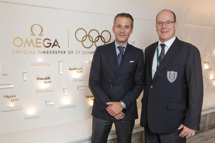 El Presidente y CEO de OMEGA, Raynald Aeschlimann. Alberto I I de Monaco. OMEGA House en Rio de Janeiro