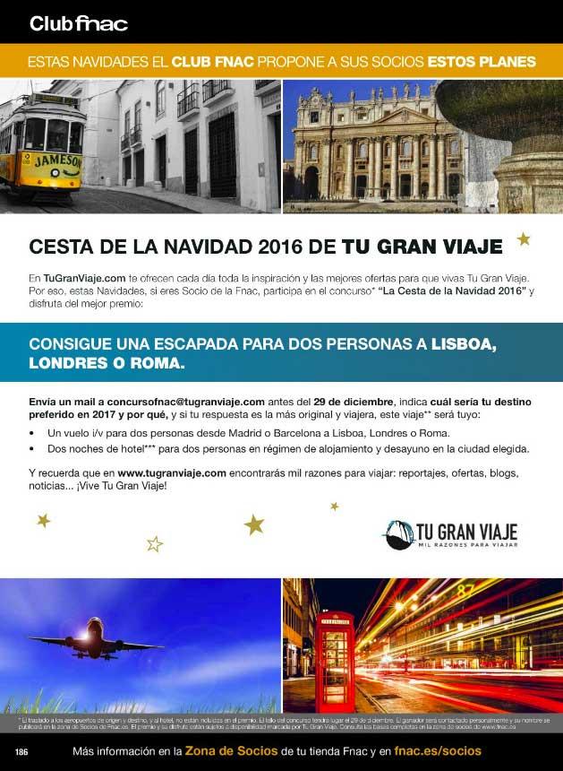 Concurso para Socios Fnac La Cesta de la Navidad de Tu Gran Viaje