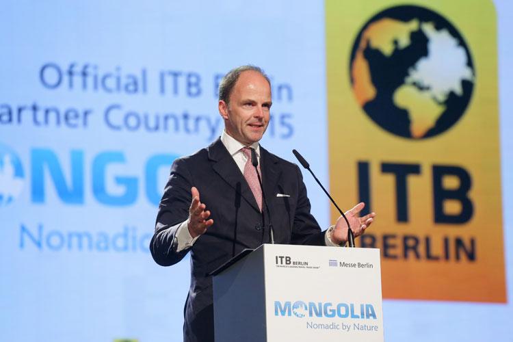Dr. Christian Göke, CEO de Messe Berlin GmbH, en la ceremonia de apertura de ITB Berlin 2015.
