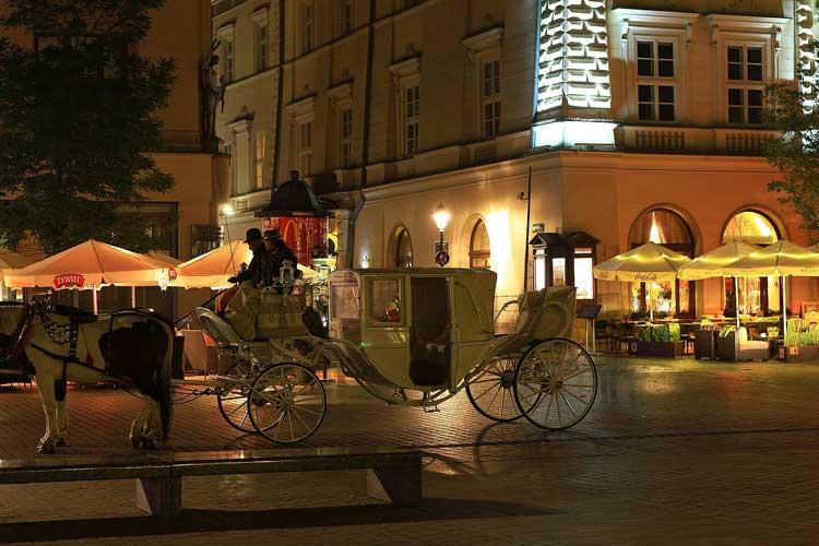 Carruajes de caballos en Cracovia
